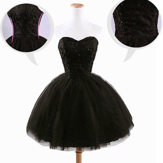 Women's Black Plain Grenadine Strapless Lace-Up Ball Gown Sweet Tutu Mini Dress