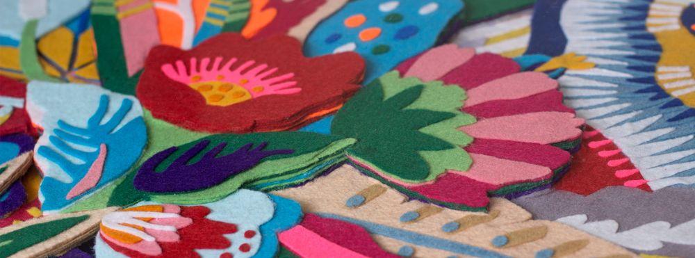 """""""Tropicaliente"""" - Detalhe Composição de feltro por Lhama  Felt collage by Lhama www.lhama.net"""