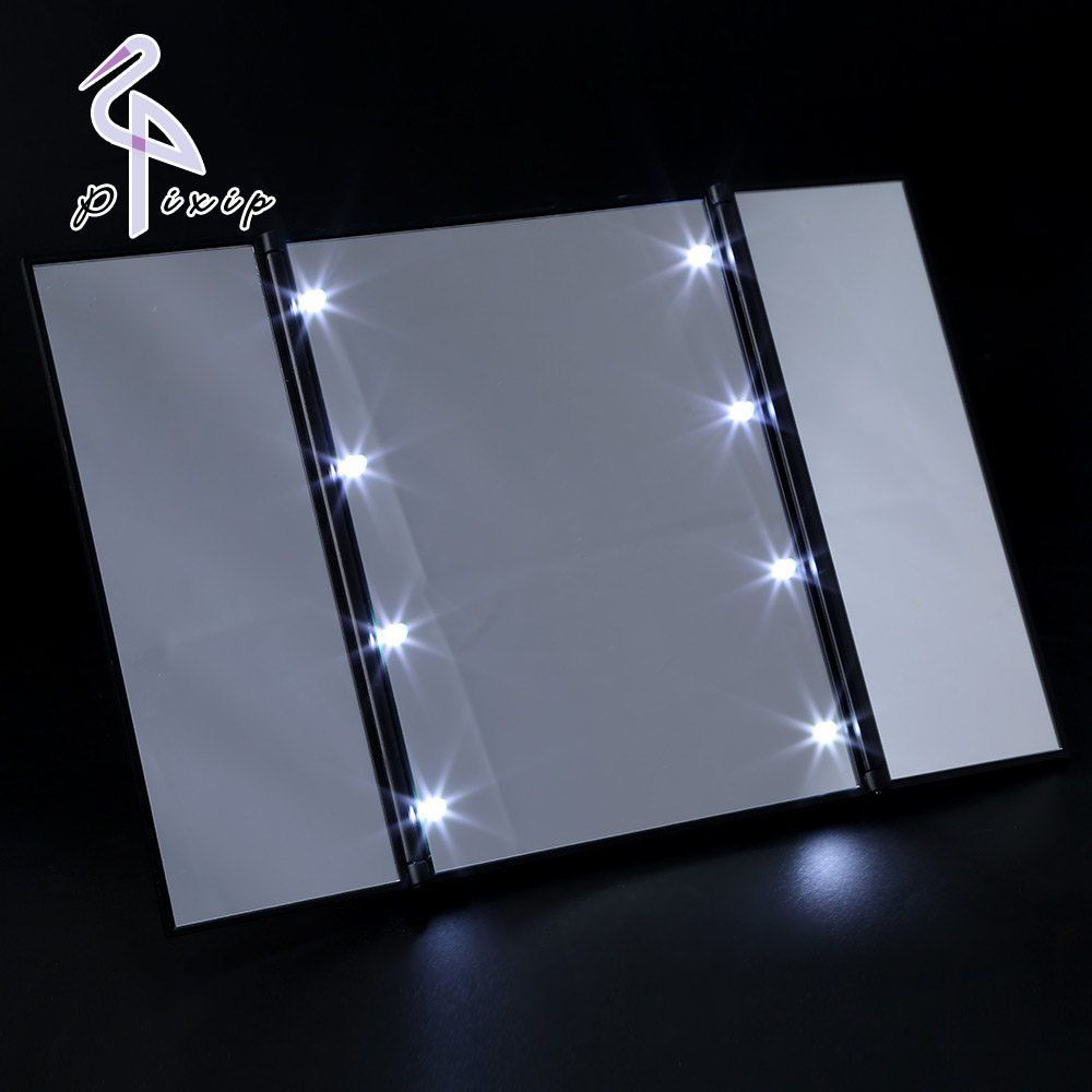 8 LEDs Lighted Makeup Mirror Touch Screen Make Up 3 Folding Portable  Adjustable Tabletop Countertop