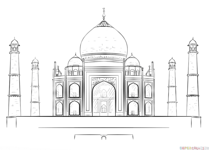 How to draw the Taj Mahal step by step. Drawing tutorials