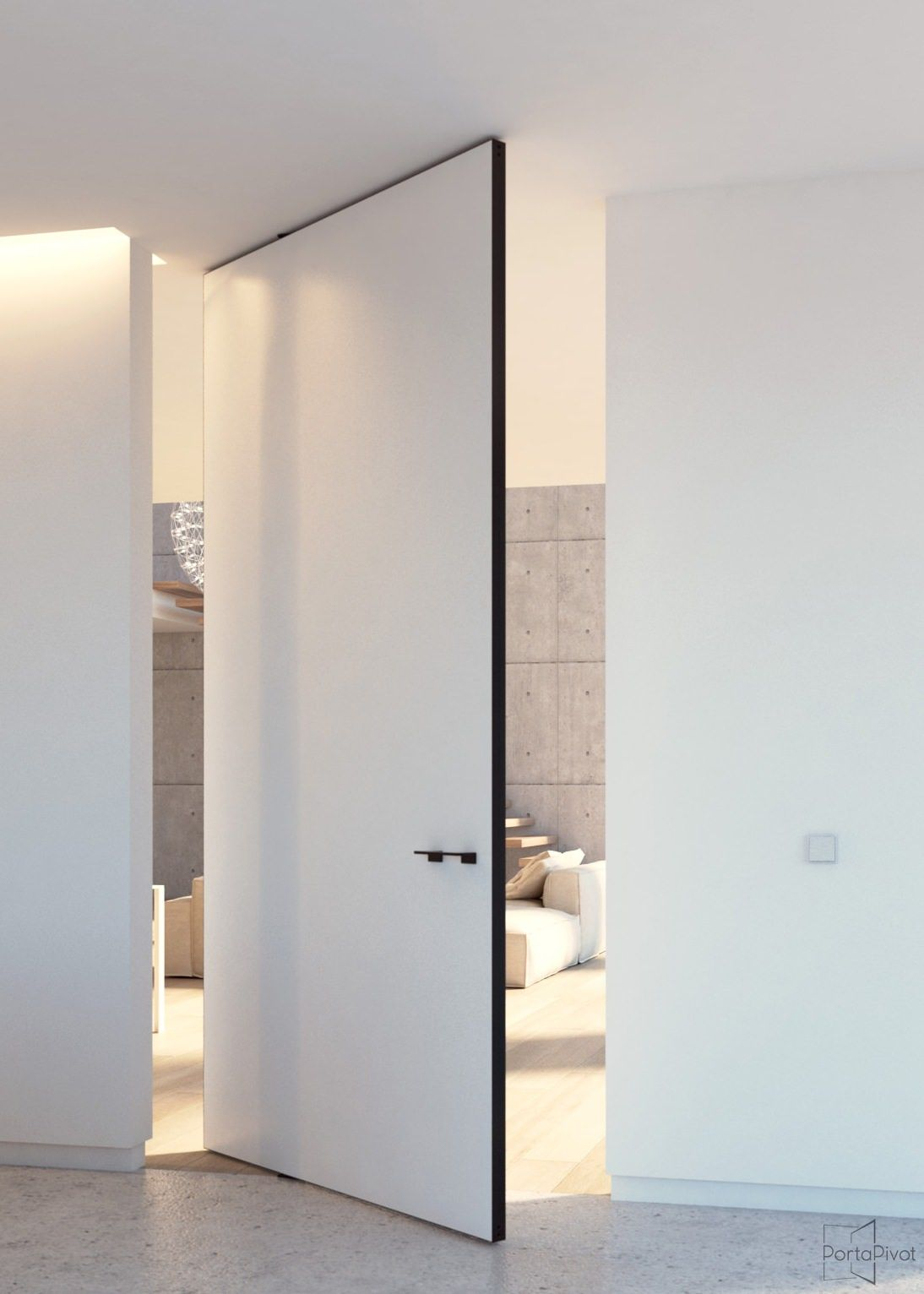 Modern pivot door with offset axis pivoting hinges that ...