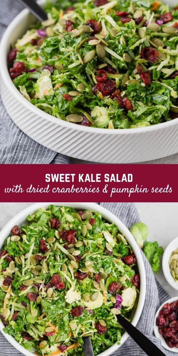 Sweet Kale Salad with Dried Cranberries and Poppy