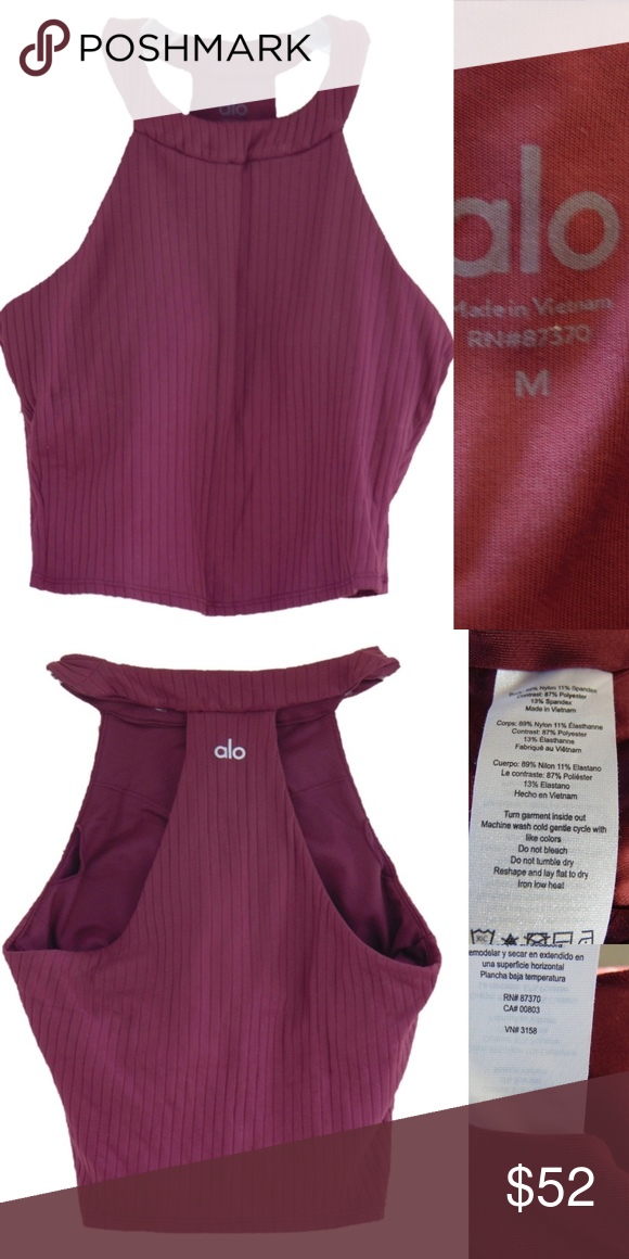 e9424064c0c7f Alo Yoga Unite Cropped tank with bra Alo Yoga Unite Rib Knit Sports Bra in  Raisin