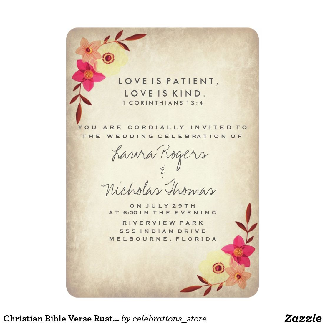 Christian Bible Verse Rustic Country Floral Invitation | Wedding ...