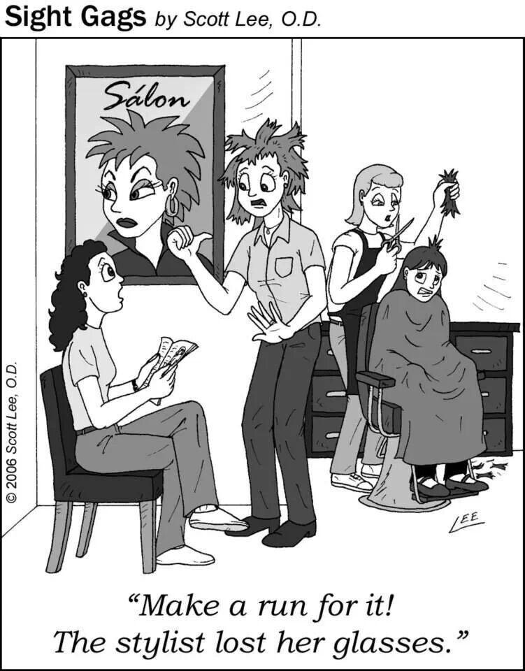 Stylist Lost Her Glasses Cartoon Jokes Optometry Humor Eye Jokes