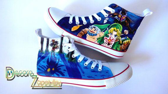 Legende von Zelda benutzerdefinierte Canvas Schuhe niedrige Oberteile hohen…