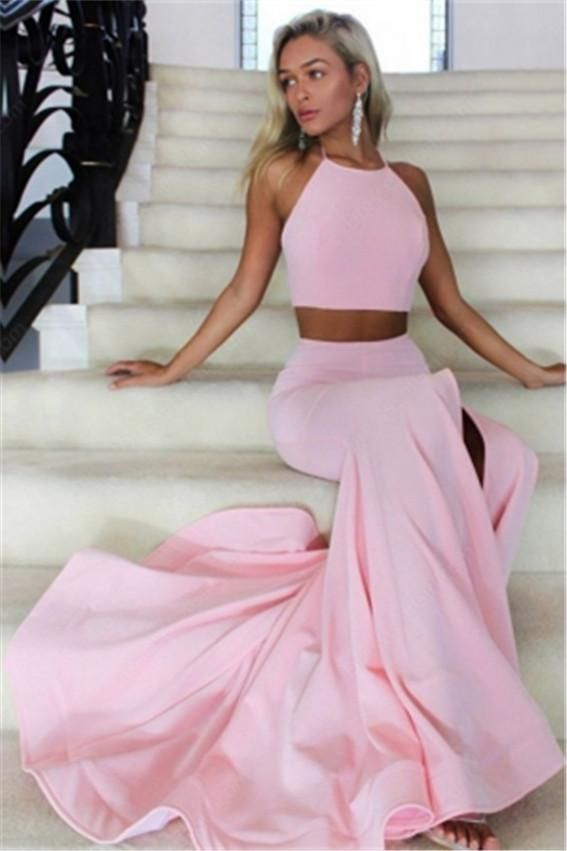 2018 Two Piece Prom Dresses Mermaid Backless Long Evening Gowns ...