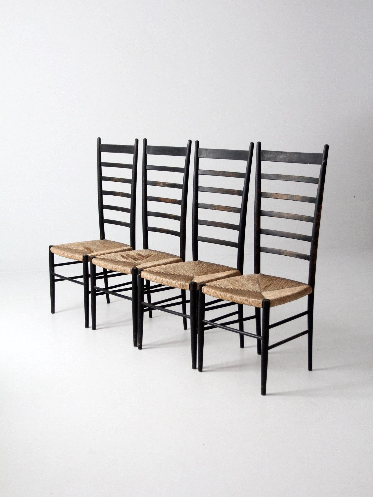 wicker ladder back chairs herman miller stacking a set of four they feature painted