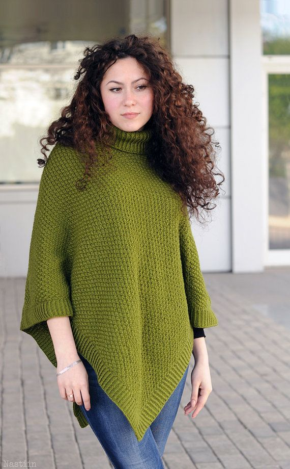 Pdf Womens Knitted Poncho Pattern Knit Cape Pattern Turtleneck