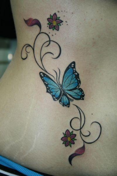 Tatuaje Enredadera Mariposa Y Flores Indigo Azul Tatuaje De