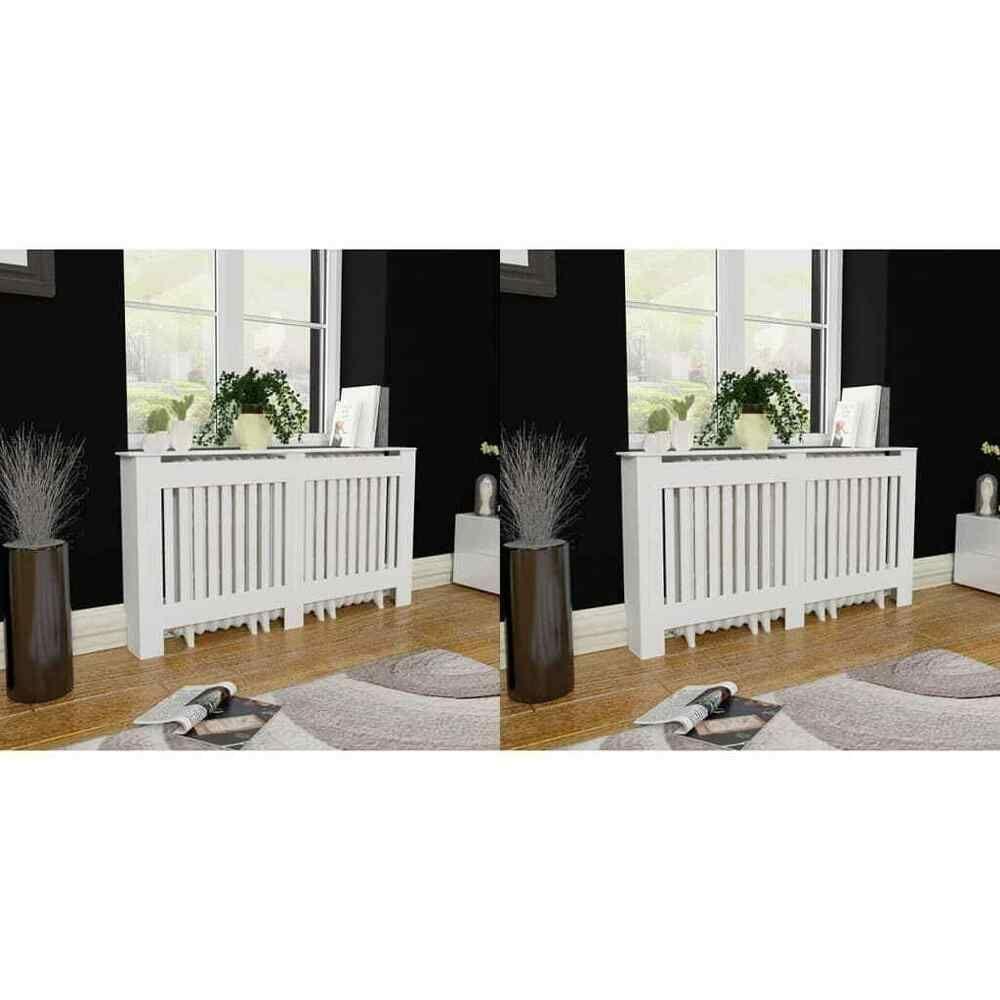 Cache Clim Pas Cher vidaxl 2x cache-radiateur blanc mdf 152cm couvre radiateur