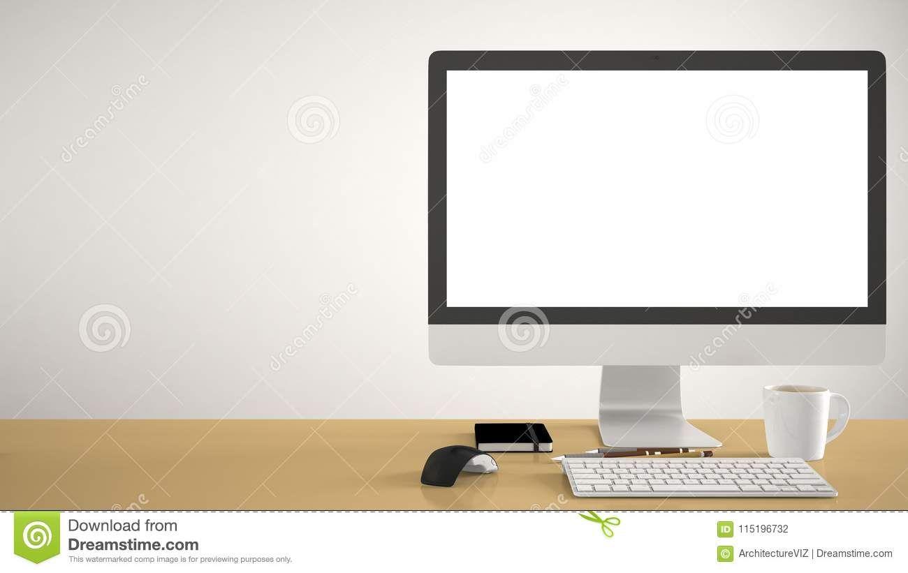 Desktop Mockup Template Computer On Yellow Pantone Colored Work Desk With Blank Screen Keyboard Mouse And Notepad Wit Yellow Pantone Pantone Color Work Desk