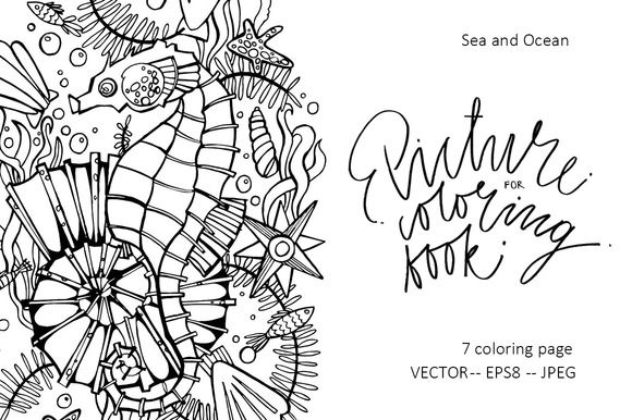 Picture for coloring book.  by Asetrova Ann on @creativemarket