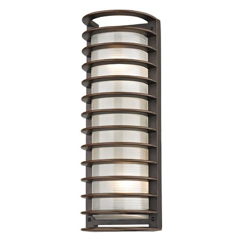 Design Classics Lighting Tall Bronze Outdoor Wall Light with White Glass and Horizontal Banding ...