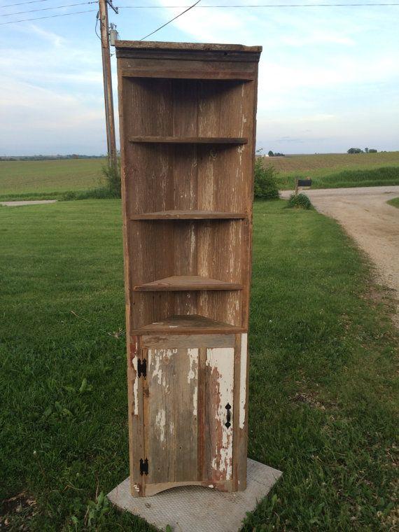 Rustic Barn Wood Corner Cabinet