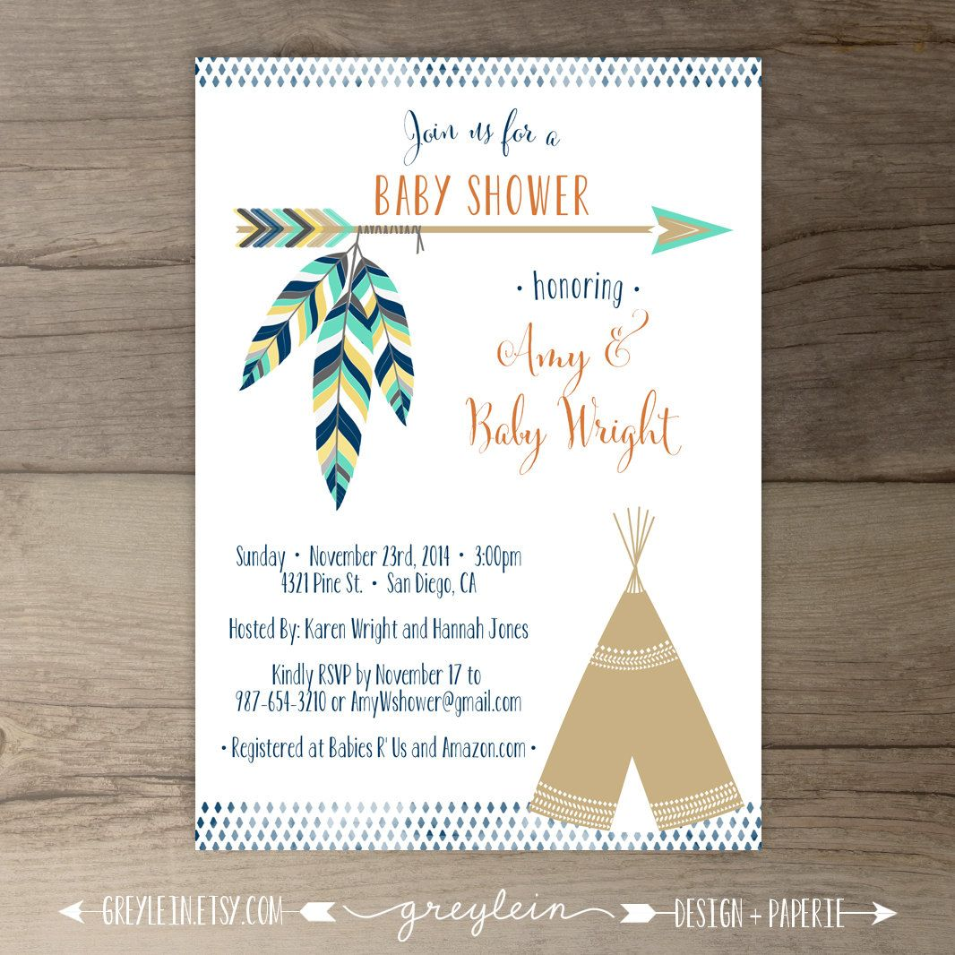 Tribal Baby Shower Invitations Birthday Pow Wow Arrows Feathers