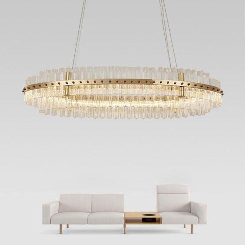 Manggic Modern Oval Crystal Chandelier For Dining Room Kitchen