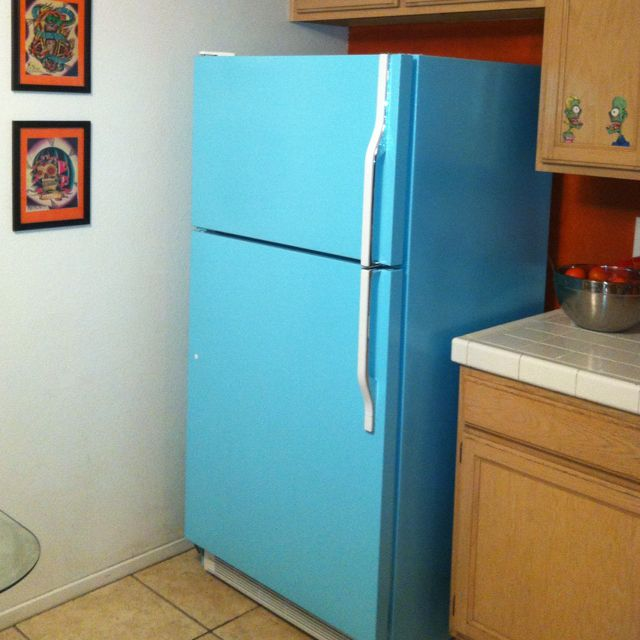 Krylon Spray Paint And A Strong And Understanding Husband Equals This Painted Fridge Painted Fridge Krylon Spray Paint Krylon