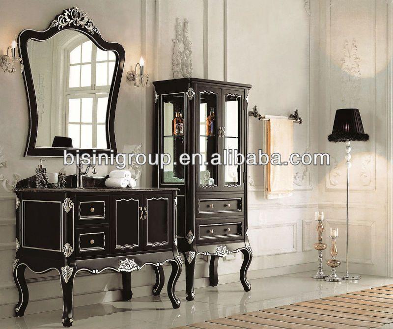 De estilo francés de color negro cuarto de baño gabinete, baño de ...