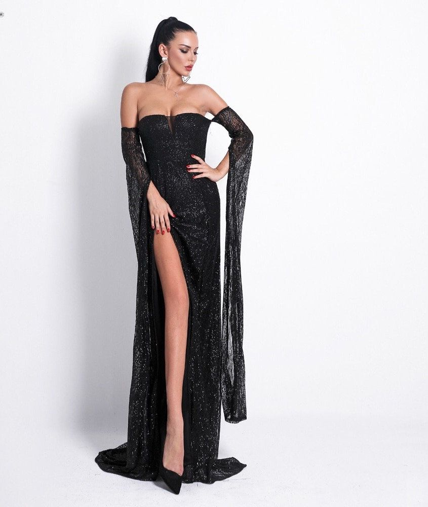 Anna Glitter Maxi Dress Black Elegant Dresses For Women Evening Gowns Designer Evening Gowns [ 1000 x 845 Pixel ]