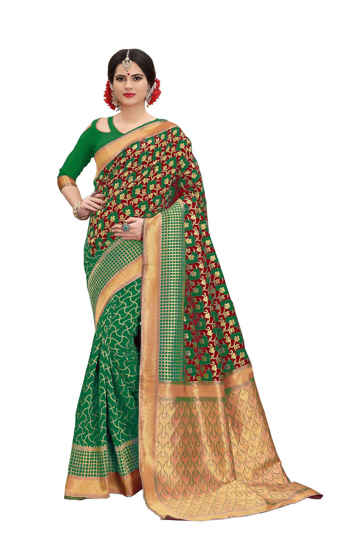 fb52f86623cc9 Green Red Banarasi silk saree with blouse piece – Banarasi sarees online   100% customer
