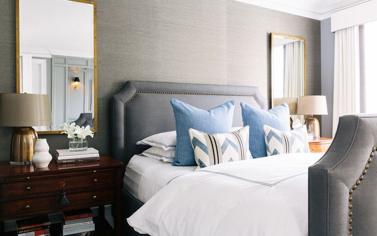 Beautiful Susan Greenleaf   Gray Bedroom Features Grey Grasscloth Wallpaper Framing  Gray Linen Bed With Brass Nailhead