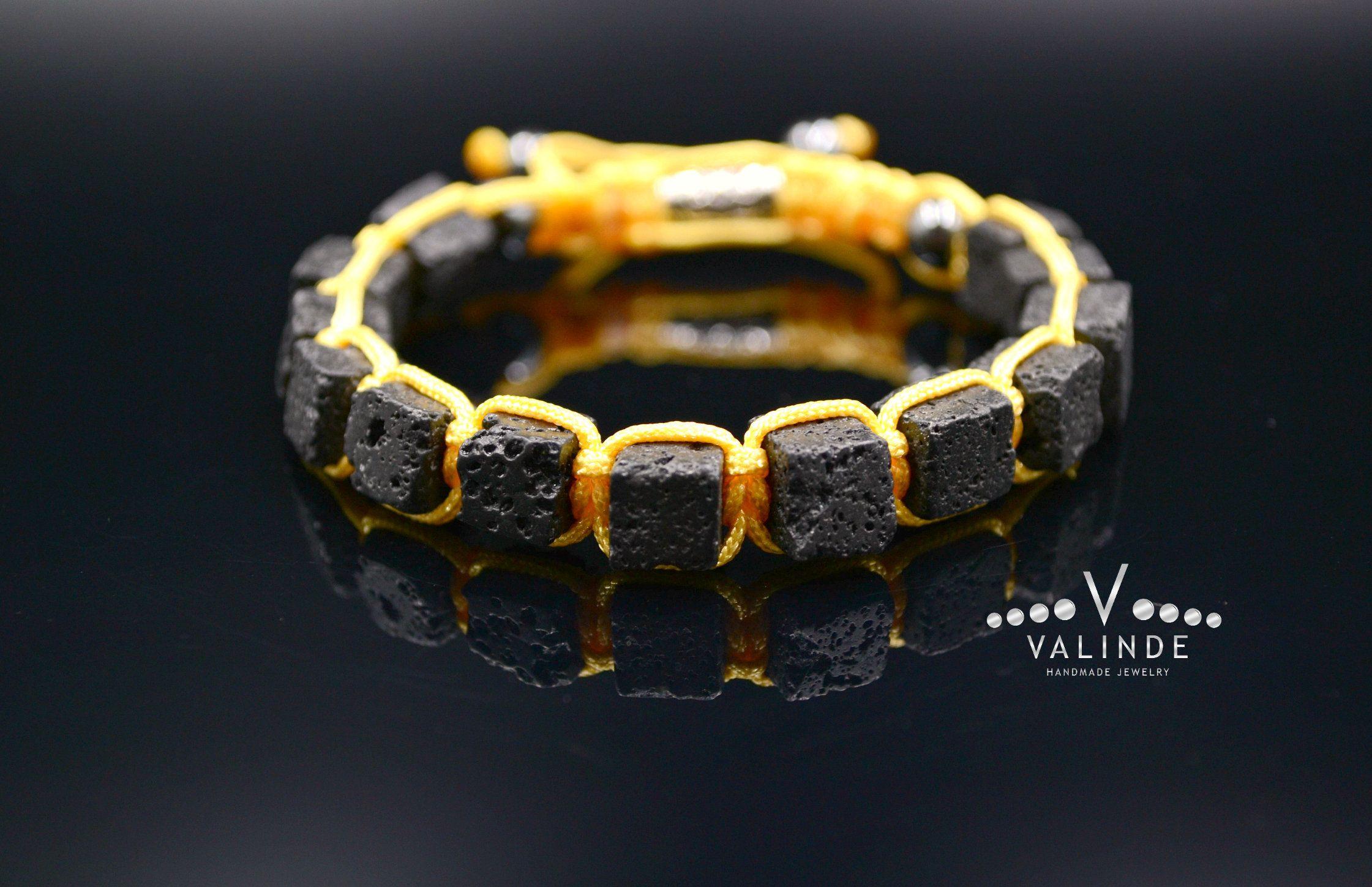 Men/'s Cube Lava Stone Bracelet Gift for Men Square Bracelet Black Lava Bracelet Macrame Adjustable Bracelet Volcanic Beads Bracelet