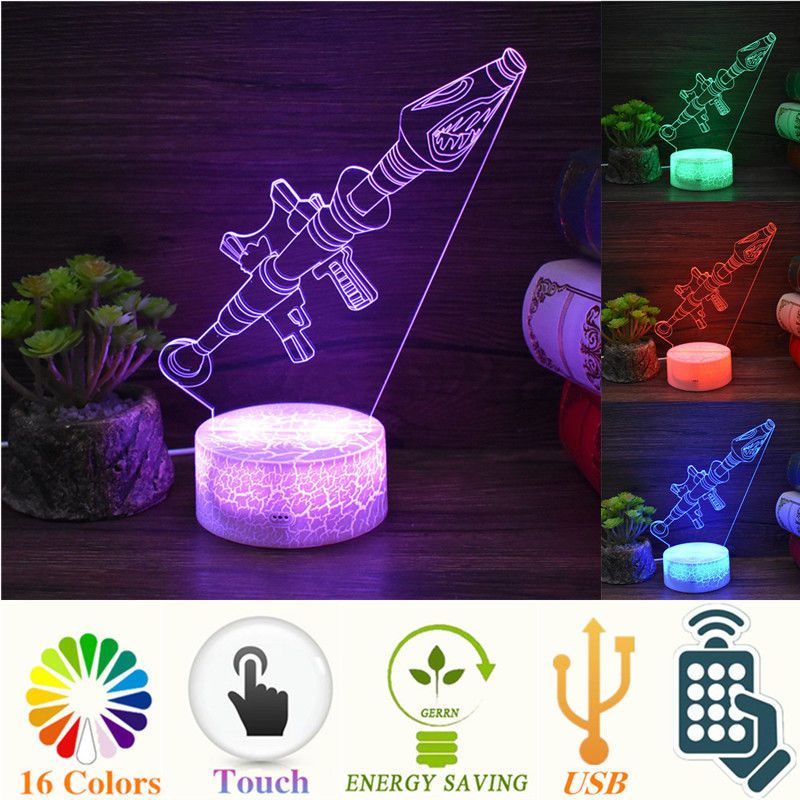 Fortnite Rpg Rocket 3d Remote Night Light Led Game Toy 16 Color Decor Usb Lamp 3d Led Night Light Light Decorations Night Light