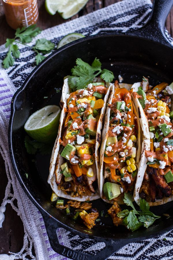 Easy Chicken Fajitas with Cheesy Enchilada Rice + Spicy Tex-Mex Special Sauce | halfbakedharvest.com