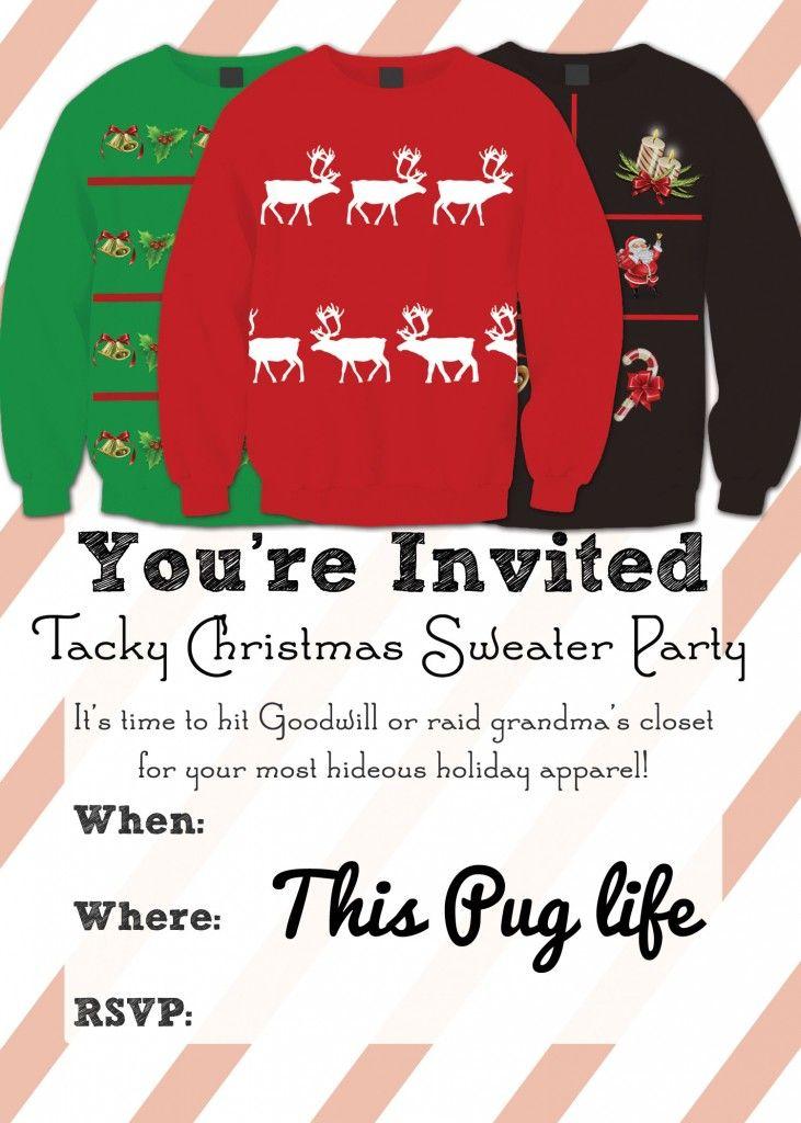 Tacky Christmas Sweater Party Invitations – Free Printable | Tacky ...