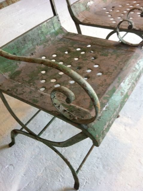 Patina Of Old Metal Chairs, Green, Rust, And Brown
