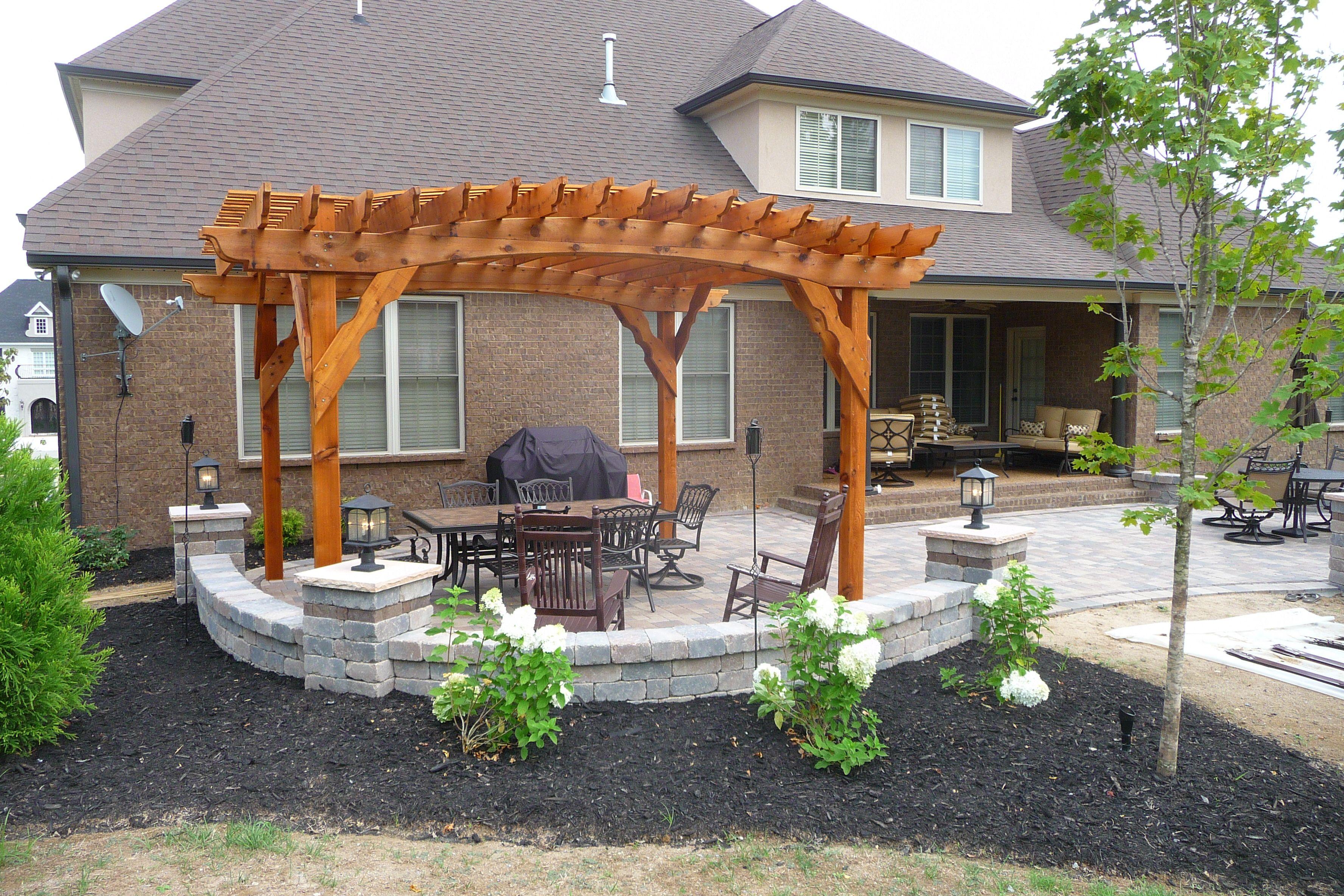 Western Red Cedar Pergola & Paver Patio | Backyard patio ... on Red Paver Patio Ideas id=82953