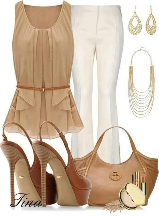 feminine nude shirt with tan belt, nude bag and tan shoes, white pants.