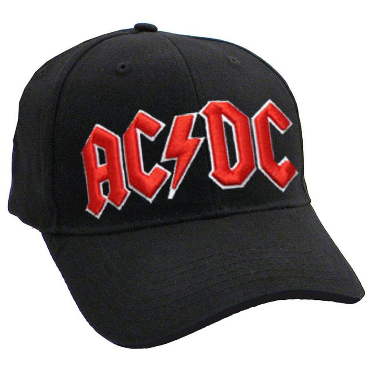 e9b3eda590c23 AC DC Classic Red On White Logo Black Frayed Baseball Cap - Paradiso  Clothing