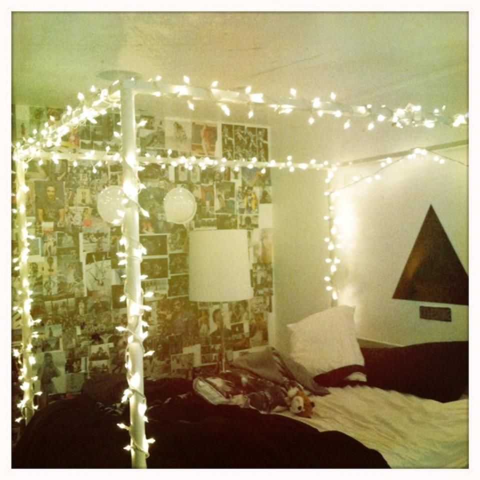 I actually like the wall covered in pics and the idea of xmas lights ...