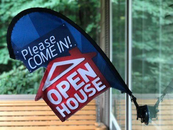 Open House Sign Real Estate Flag Apartment Leasing Sign Flag