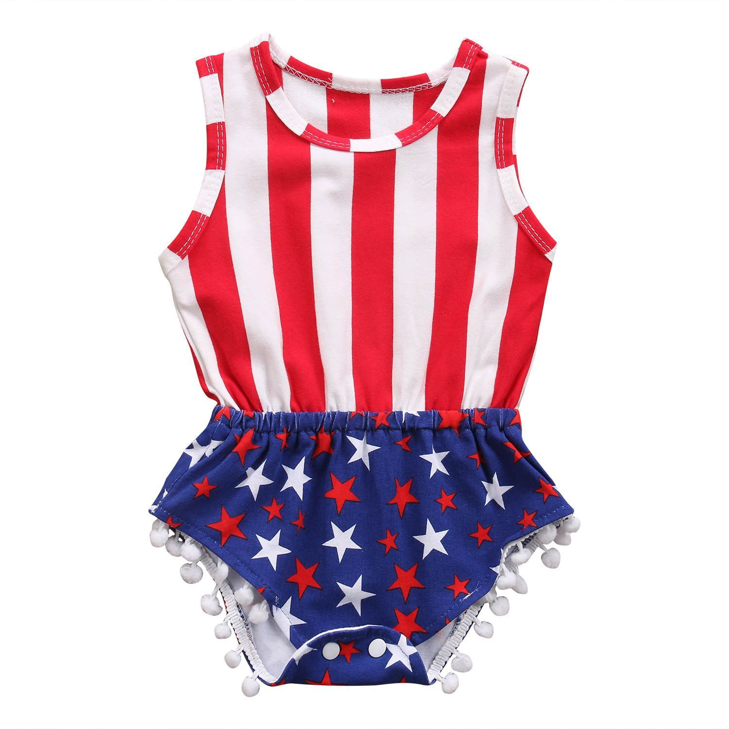American Flag Independence Day Romper