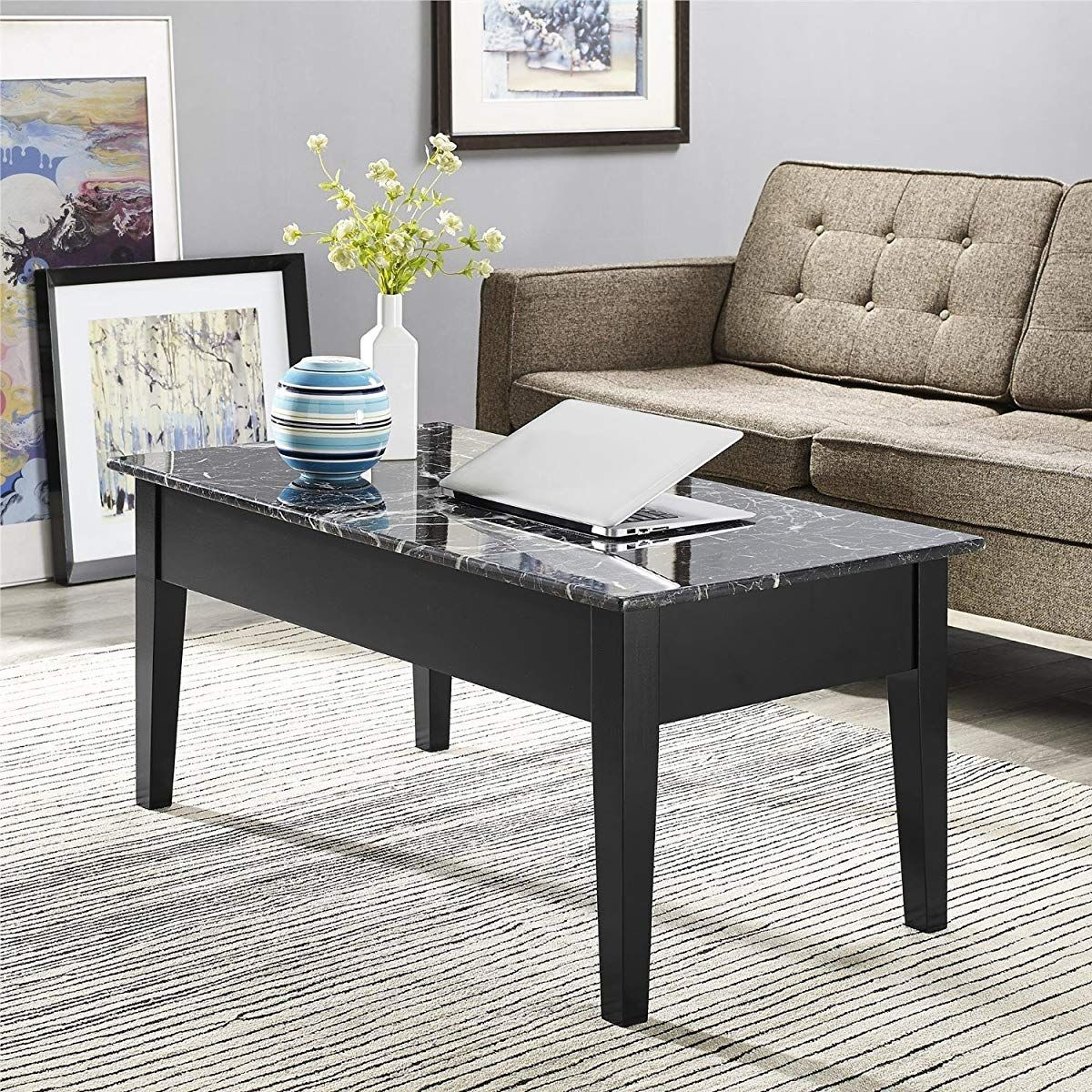 Marble Lift Top Storage Coffee Table Black Faux Marble Coffee
