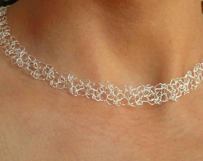 Silber Halsband Halskette Draht Häkeln Maschen Halskette Braut