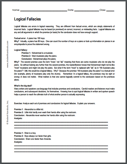 logical fallacies worksheet free to print pdf social studies pinterest worksheets. Black Bedroom Furniture Sets. Home Design Ideas