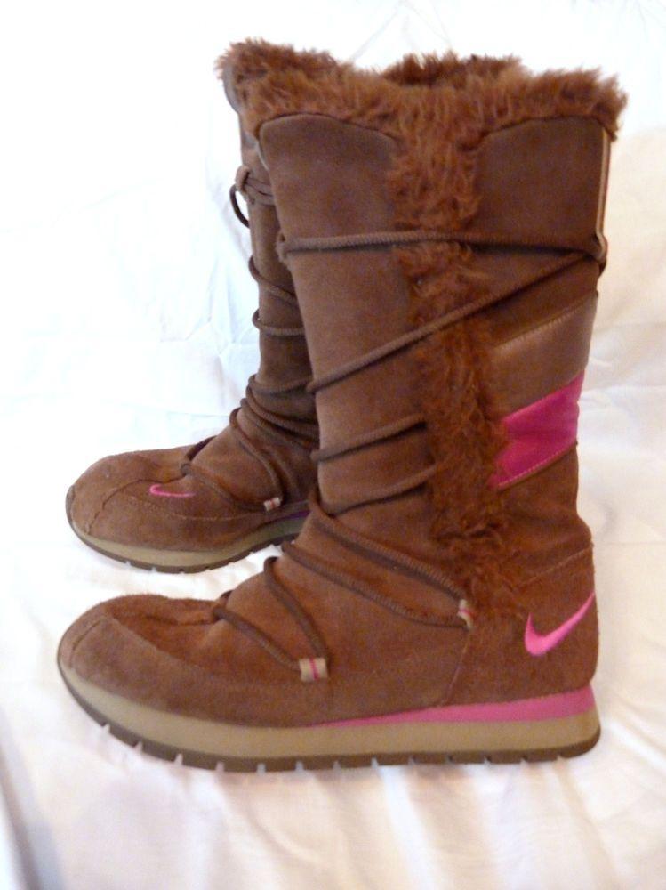 46962fc012e6 Nike Womens Size 8 Winter Snow High Boots Brown Pink Faux Fur Pompom  Fashion  Nike  SnowWinter