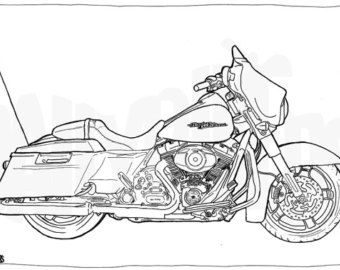 Harley Davidson Street Glide Colouring Page