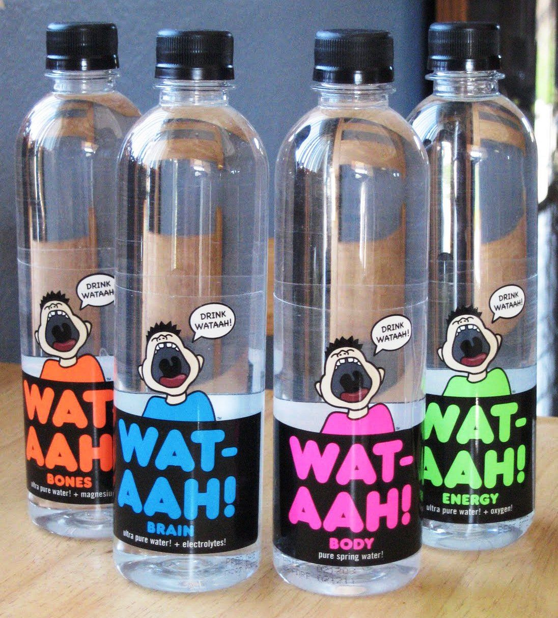 Can Water Really Be Rebranded? // To encourage children to start drinking more H2O and less high-fructose corn syrup, Rose Cameron created WAT-AHH!, a bottled water that's made specifically for kids. #Branding #Design