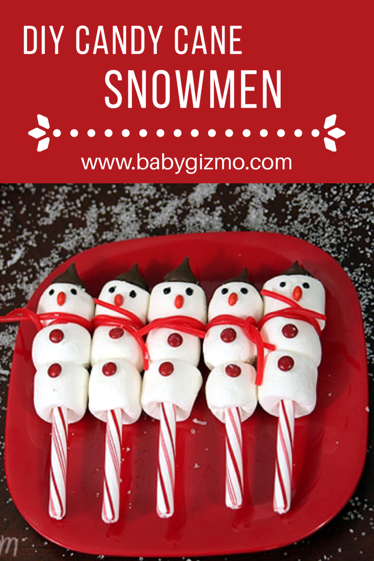 These Candy Cane Marshmallow Snowmen Make A Great Craft