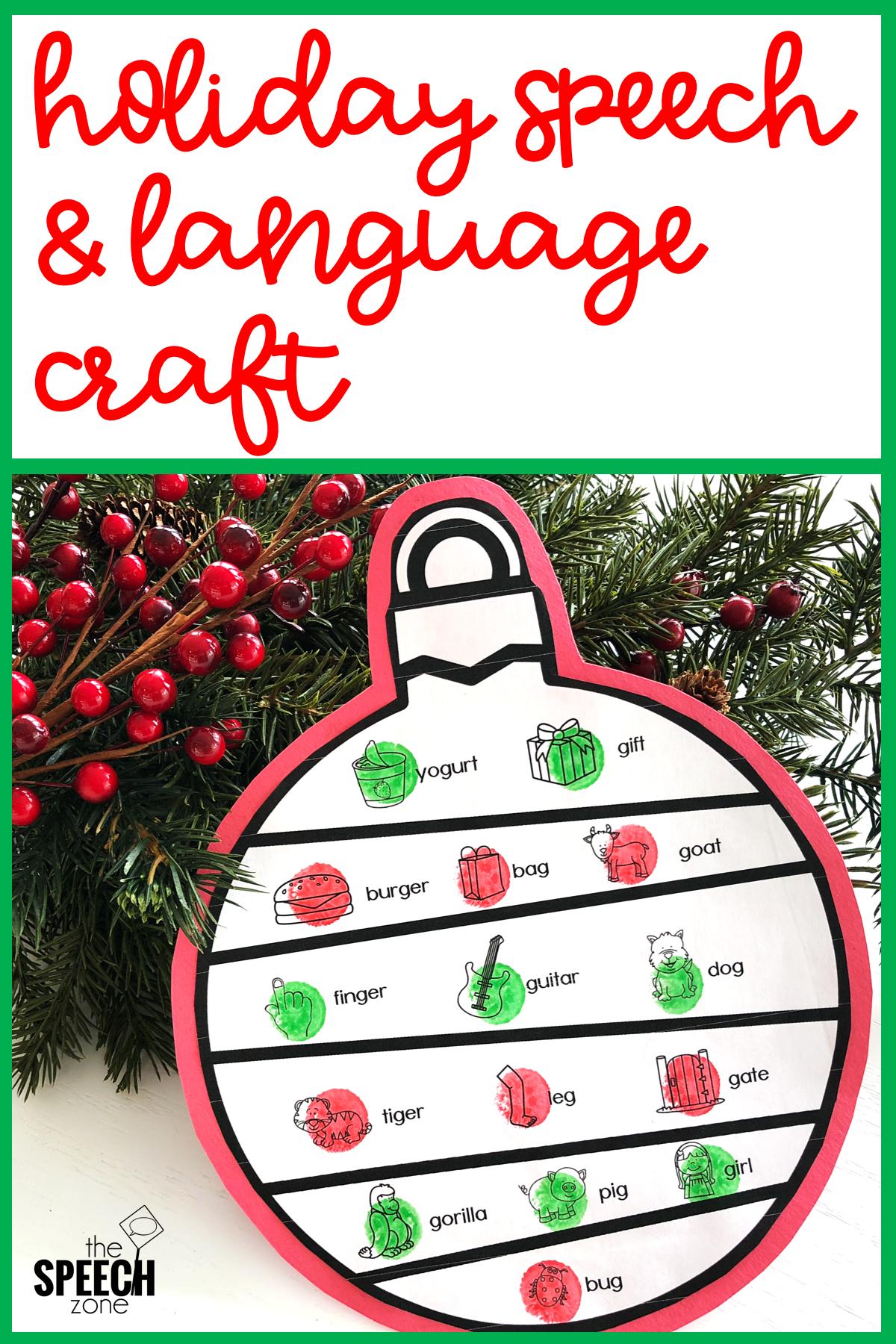 Winter Christmas Ornament Speech Craft