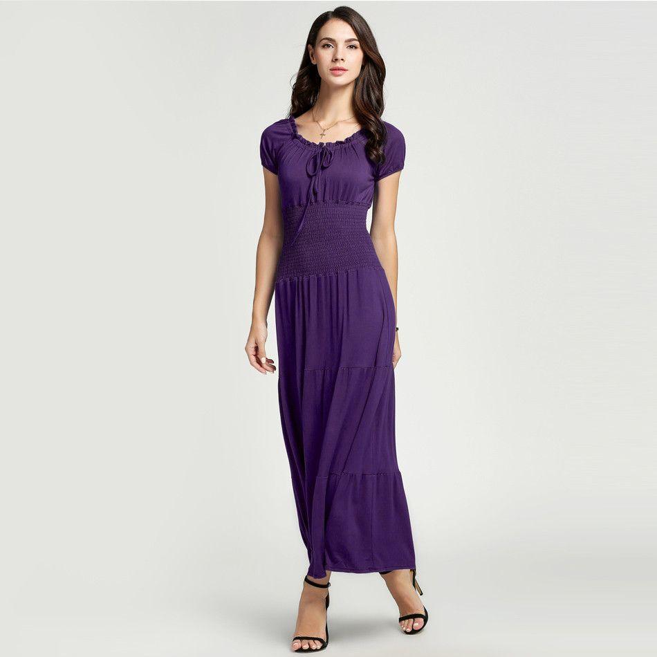 Women Casual Summer Autumn Lady Boat Neck Elegant Dress Short Sleeve Tunic Elastic Solid Long Maxi Dress