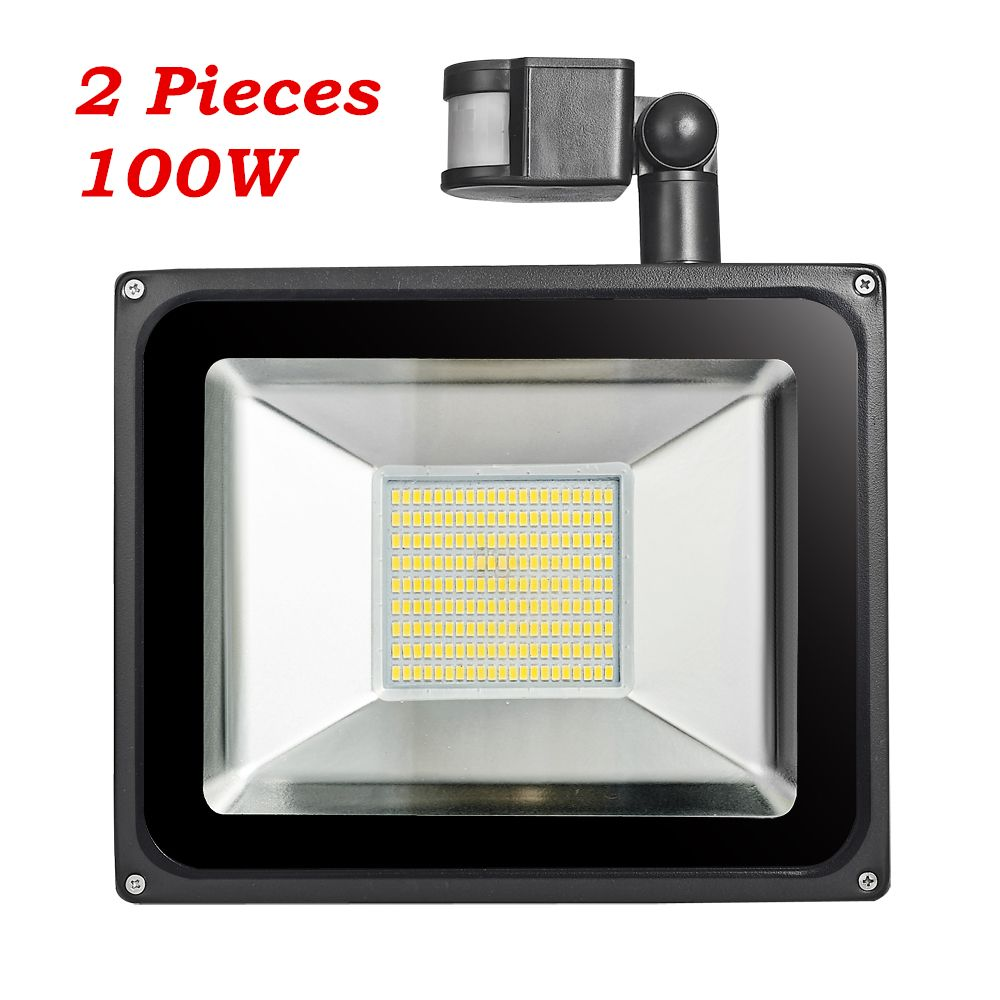 2 Pcs 100w Pir Infrared Motion Sensor Flood Light 220v 240v 11000lm Pir Infrared Sensor Floodlight Led Lamp Outdoor Lighting Flood Lights Sensor Lights Outdoor