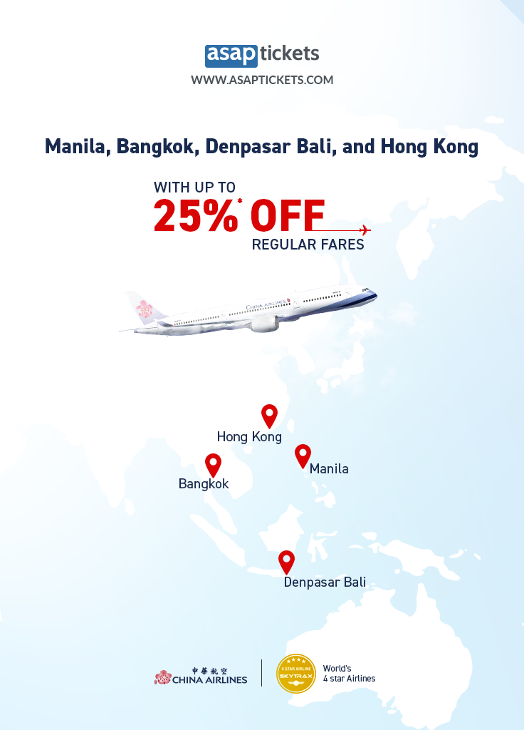 Up to 25* off China Airlines 中華航空 to Asia Fly in 4stars