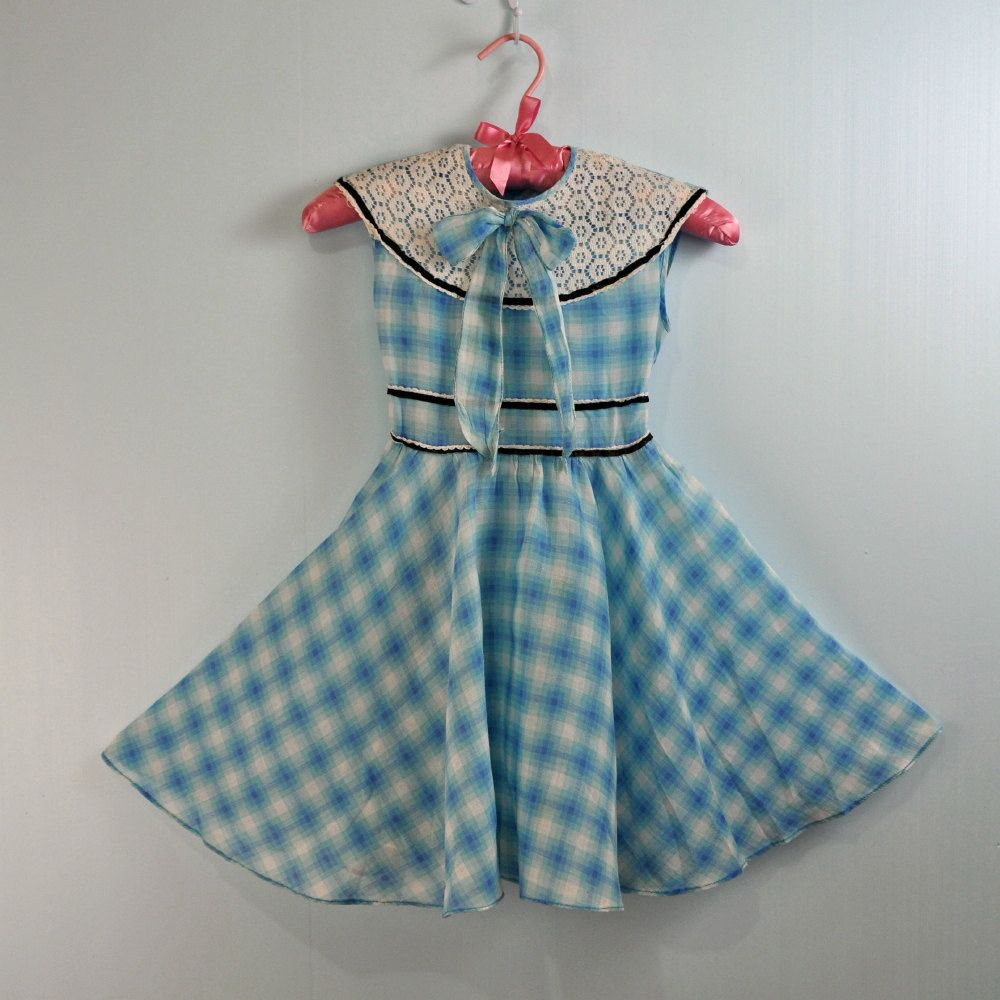 1950s / 50s GIRLS plaid voile PARTY dress - full circle skirt w ...