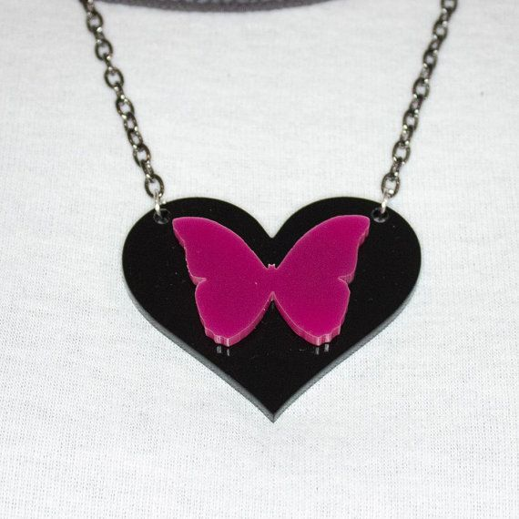 Butterfly On Heart Pendant On Black Gunmetal Chain by PinkSauceUK